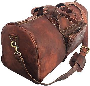 Men/'s Vintage Brown Genuine Leather Gym Goat Hide Travel Duffle Luggage Bag