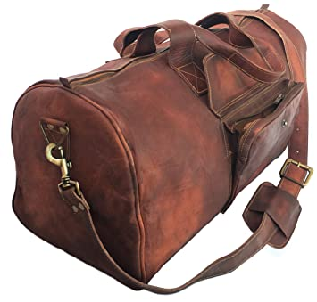 409157994c51 24 Inch Rustic Goat Real Leather Duffel bag Vintage Leather Bag Travel Bag  Overnight Weekend Holdall