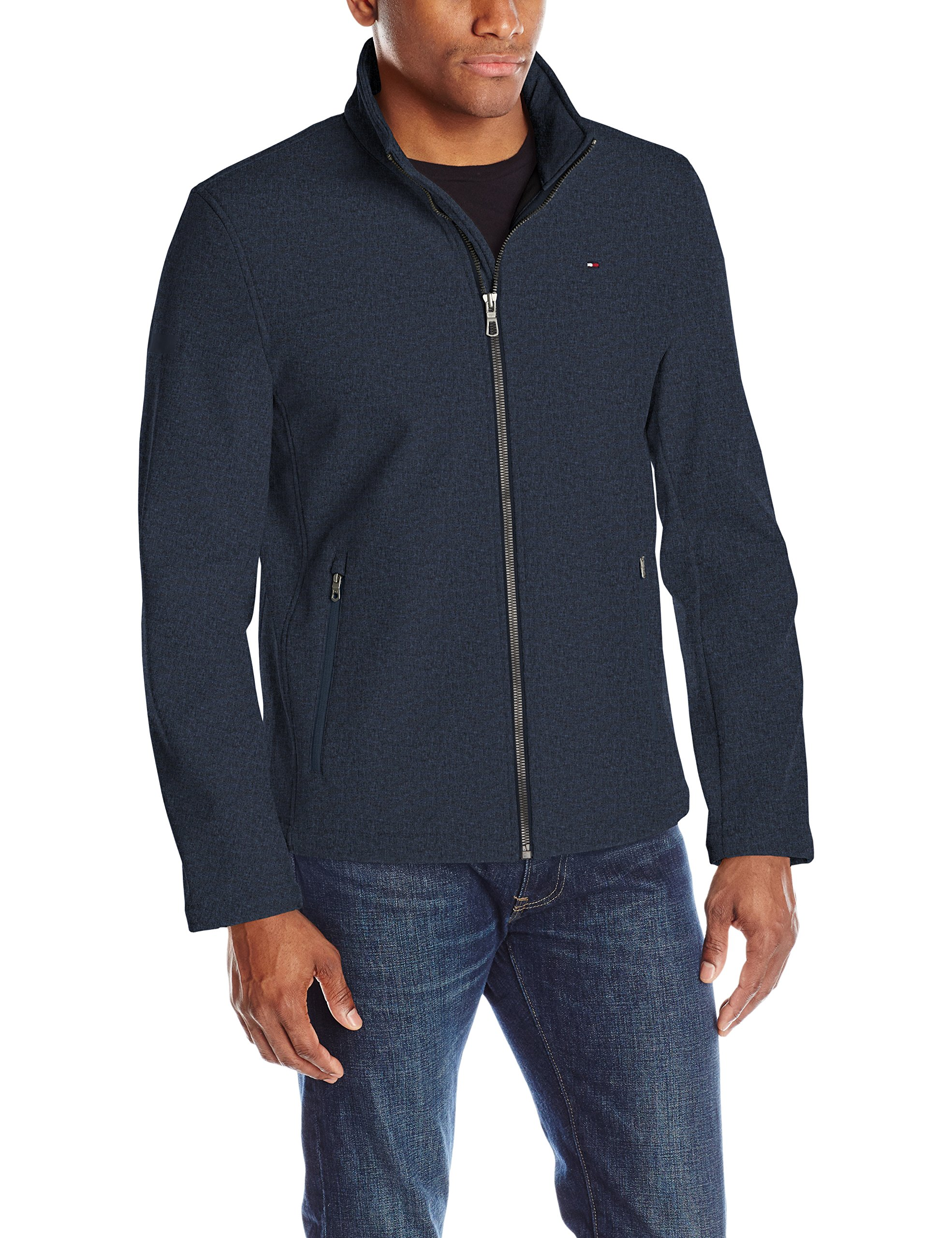 Tommy Hilfiger Men's Classic Soft Shell Jacket, Heather Navy, X-Large by Tommy Hilfiger