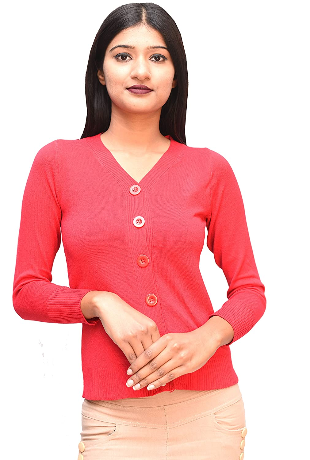 df87250d36af1b Otia 6 Button Woolen Blouse - Red Cardigan for Women Ladies Girls - Stylish  Winter Wear Sweater for Saree Jeans - Free Size 3/4 Sleeve Party Top:  Amazon.in: ...