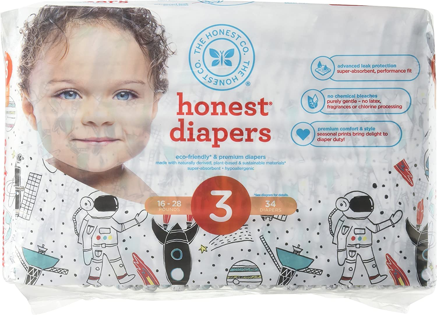 The Honest Company Honest Disposable Baby Diapers, Space Travel, Size 3, 34 Count