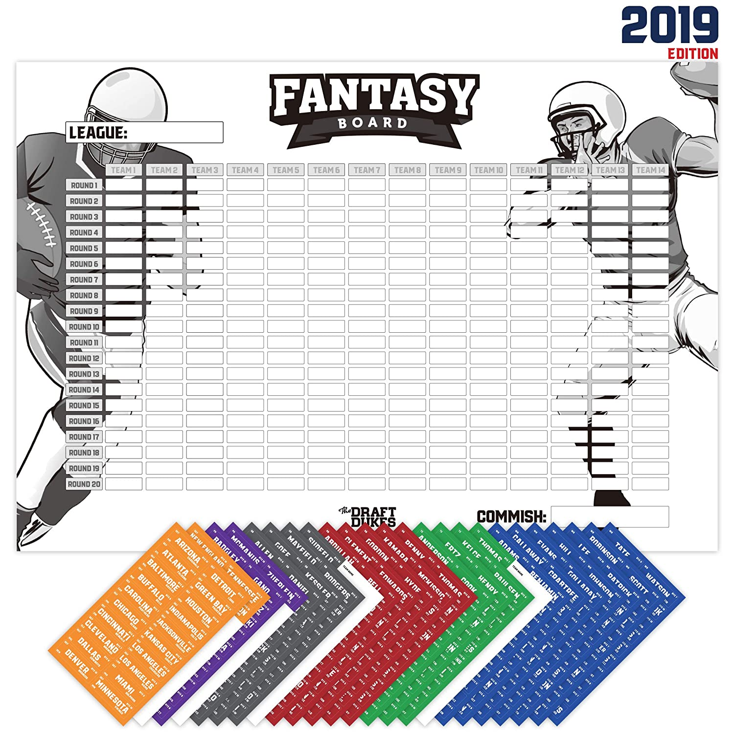 Fantasy Football Draft List 2020.Joyousa Fantasy Football Draft Board 2019 Kit With Player Labels Extra Large 14 Teams And 480 Name Stickers