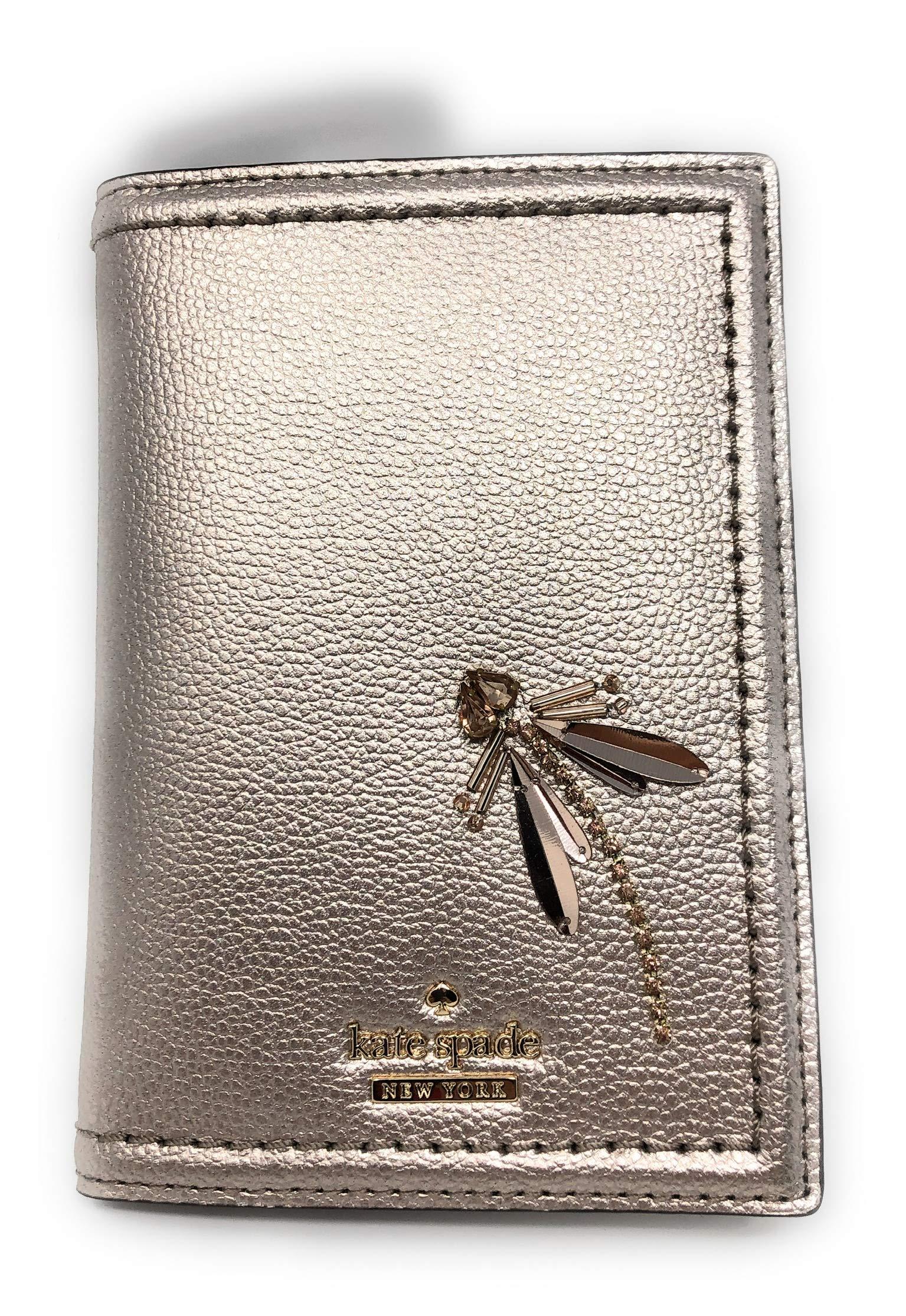 Kate Spade Imogene Patterson Dragonfly Leather Passport Holder Case Rose Gold Blush