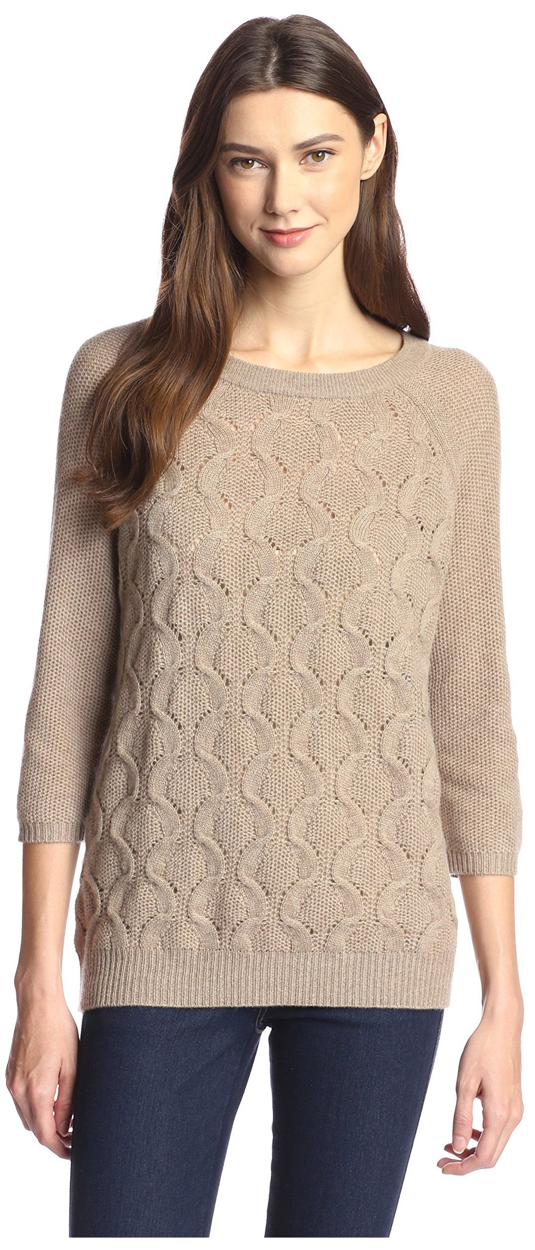 James & Erin Women's Boatneck Cable Cashmere Sweater, Dark Natural, XS