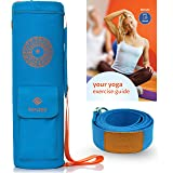 Yoga Mat Bag by Kenzyo: Blue Mat Carrier | BONUSES 8ft Yoga Strap and Exercise eBook included | Yoga Mat Sling Carrier Fit Most Mat Size Gear, Extra Wide, Adjustable Strap, Full Zip for Easy Access