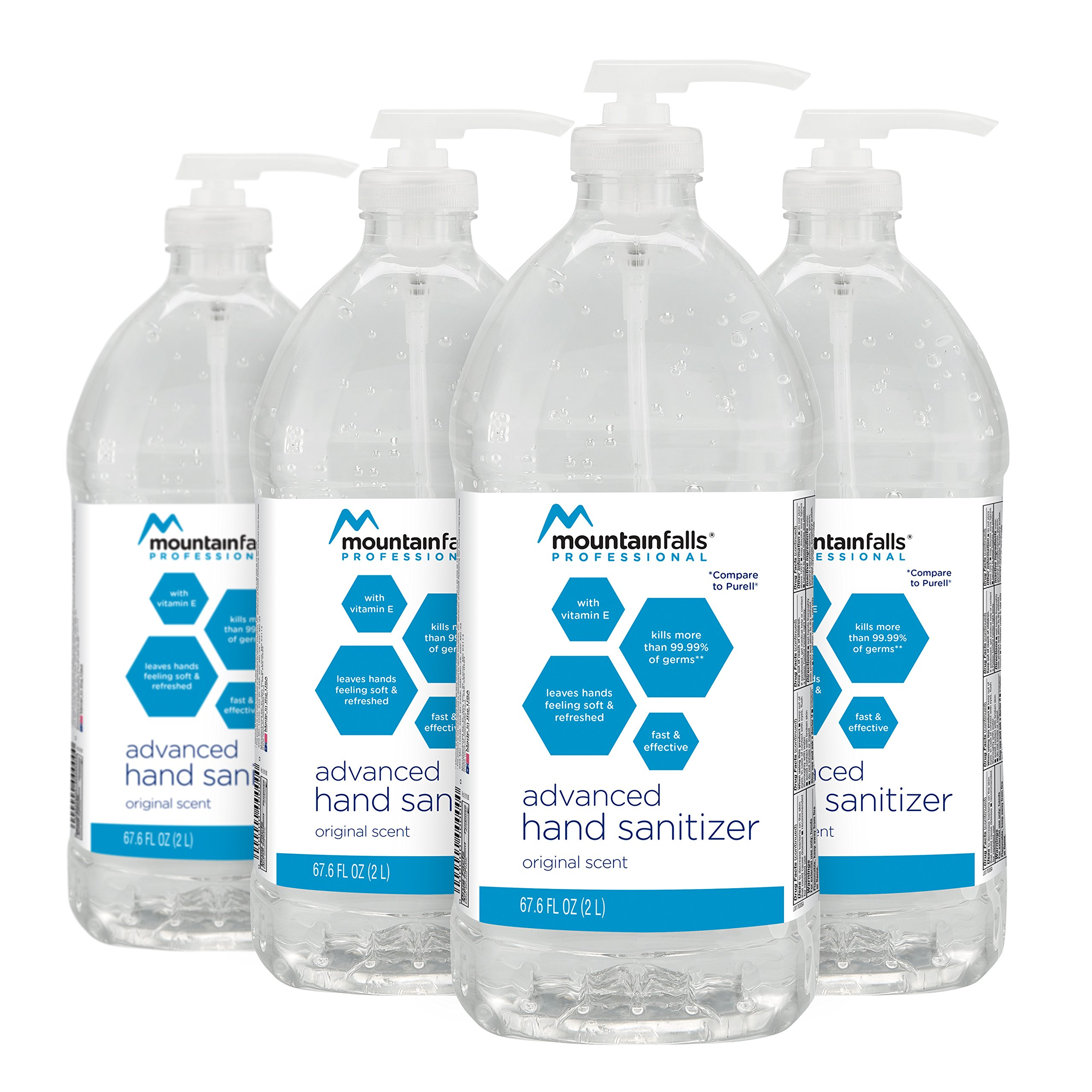 Mountain Falls Professional Advanced Original Hand Sanitizer 70% Isopropyl Alcohol, 67.6 Fluid Ounce (Pack of 4)