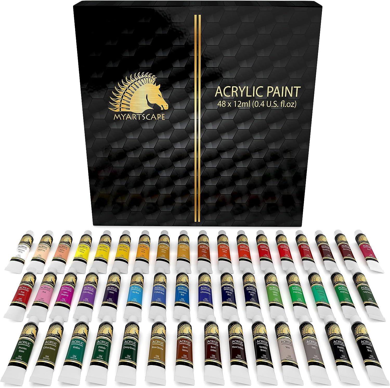 Acrylic Paint Set - 48 x 12ml Tubes - Heavy Body - Lightfast - Artist Quality Paints by MyArtscape