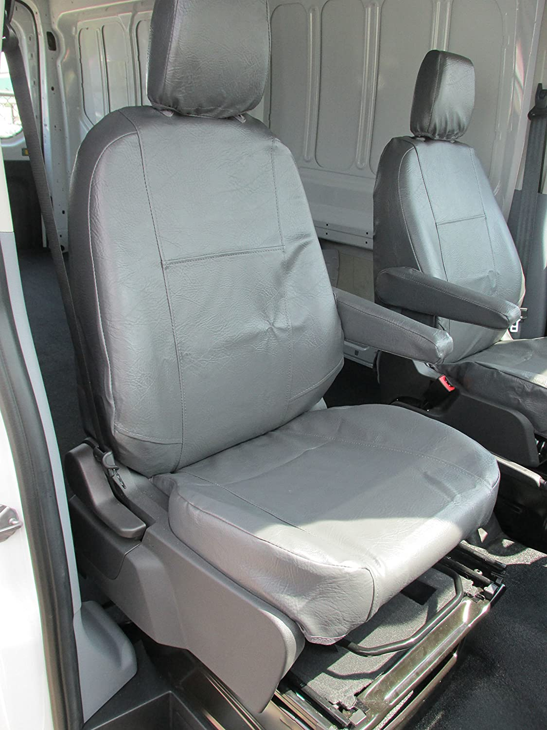 FITS FORD TRANSIT GREY LEATHER ARMREST COVERS
