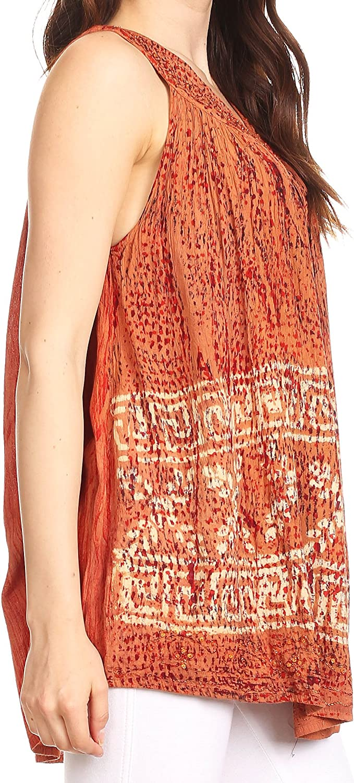 Sakkas Badalea Long Embroidered Sequin Beaded Batik Shirt Printed Tank Top Blouse