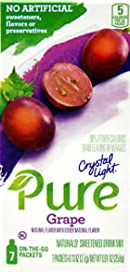 Crystal Light Pure Grape On The Go Drink Mix, 7-Packet Box (3 Box Pack)