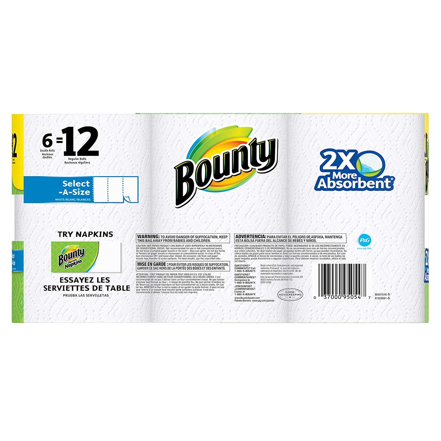 Amazon.com: Bounty Select-a-Size Paper Towels, White, 6 Double Rolls: Health & Personal Care