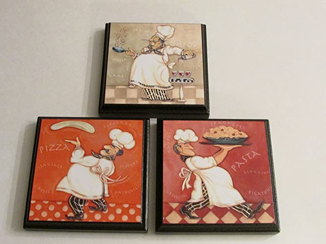 Kitchen Chef Wall Plaques Set Of 3 Chef Kitchen Decor Chef Themed Room Sign Pizza Pasta And Seafood Chef