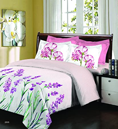 392c9da4e Bombay Dyeing 525B 164 TC Cotton Double Bedsheet with 2 Pillow Covers - Pink   Amazon.in  Home   Kitchen