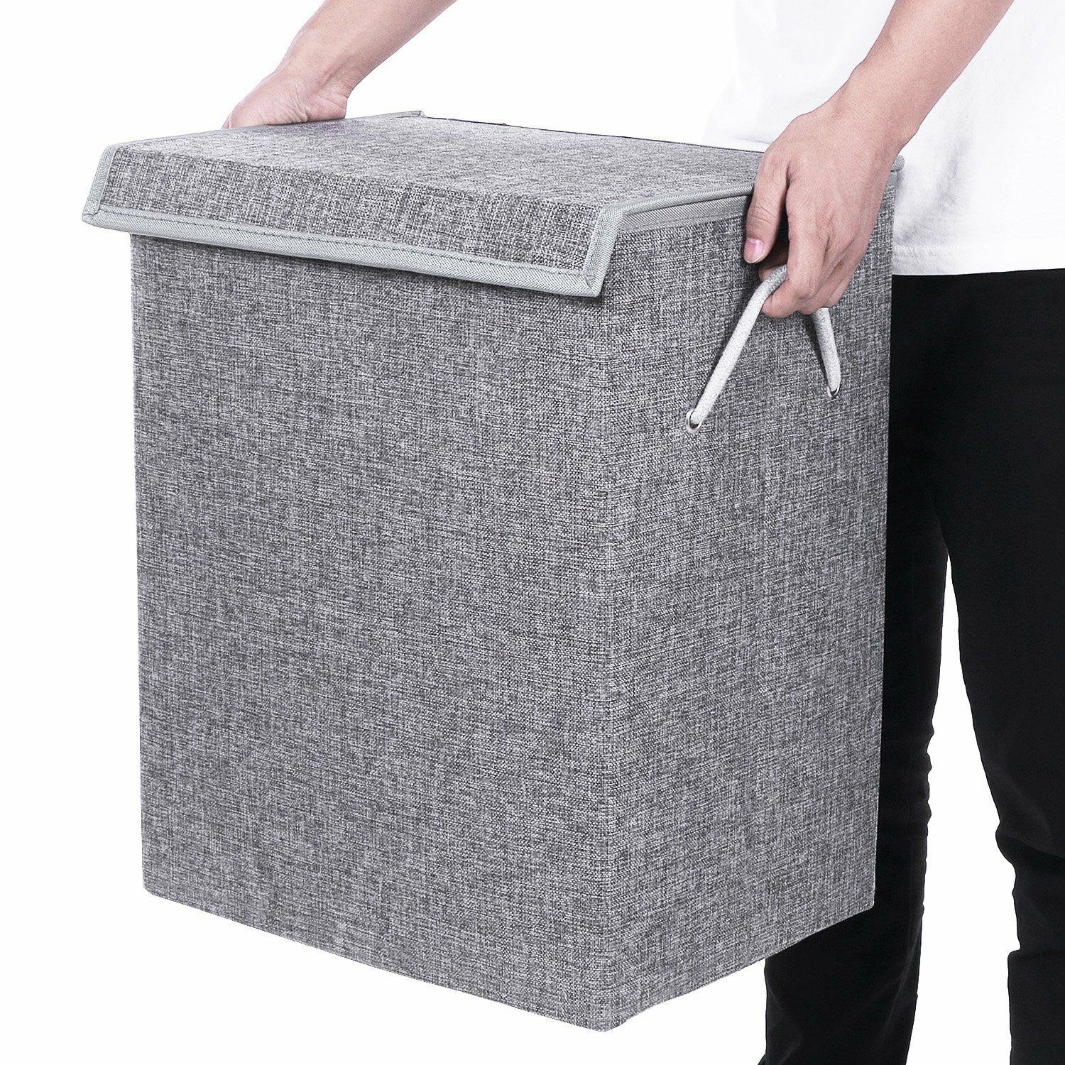 BEWISHOME Foldable Laundry Hamper,Large Laundry Basket Storage Bin for Clothes,Dirty Clothes Hamper w/Lids/Velcro,Grey Hamper with Removable liners & Sturdy Handles Grey YYL01G by BEWISHOME (Image #6)