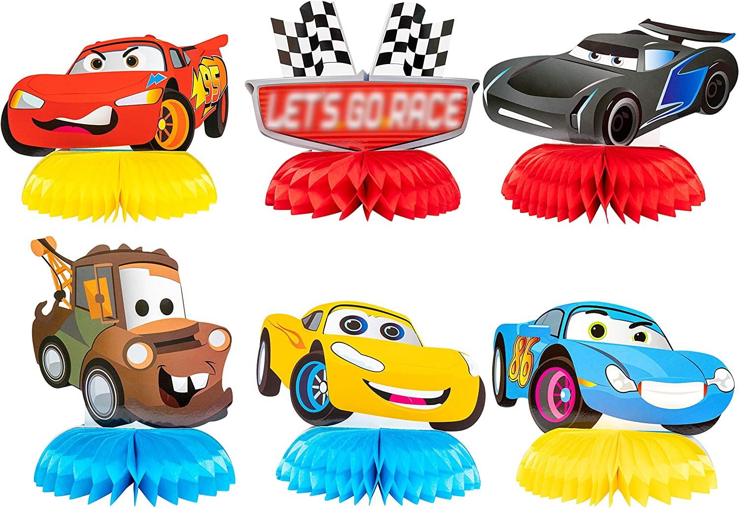 PANTIDE 6 Pieces Race Car Honeycomb Centerpieces for Party Table Decor, Double-Sided Racing Table Topper for Birthday Party Supplies Favors, Let's Go Racing Themed Photo Booth Props for Baby Shower