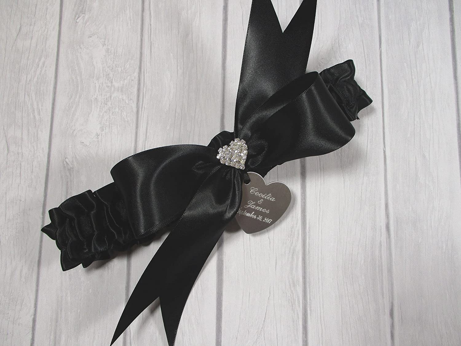 Black Wedding Garter Set with Rhinestone Hearts and Personalized Engraving