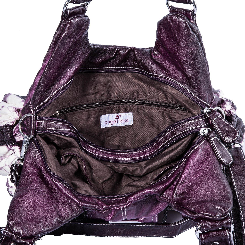 Handbag Hobo Women Handbag Roomy Multiple Pockets Street ladies' Shoulder Bag Fashion PU Tote Satchel Bag for Women (W7127Z Pureple) by Angel Kiss (Image #7)