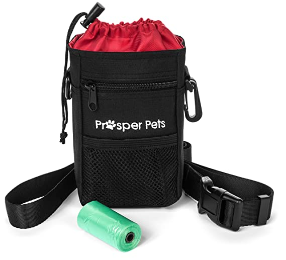"Prosper Pets Dog Treat Pouch with Poop Bag Dispenser - Ideal for Carrying Treats and Toys – Adjustable Waist Belt 23-50"" Includes Roll of Waste Bags (Black with Red Lining)"