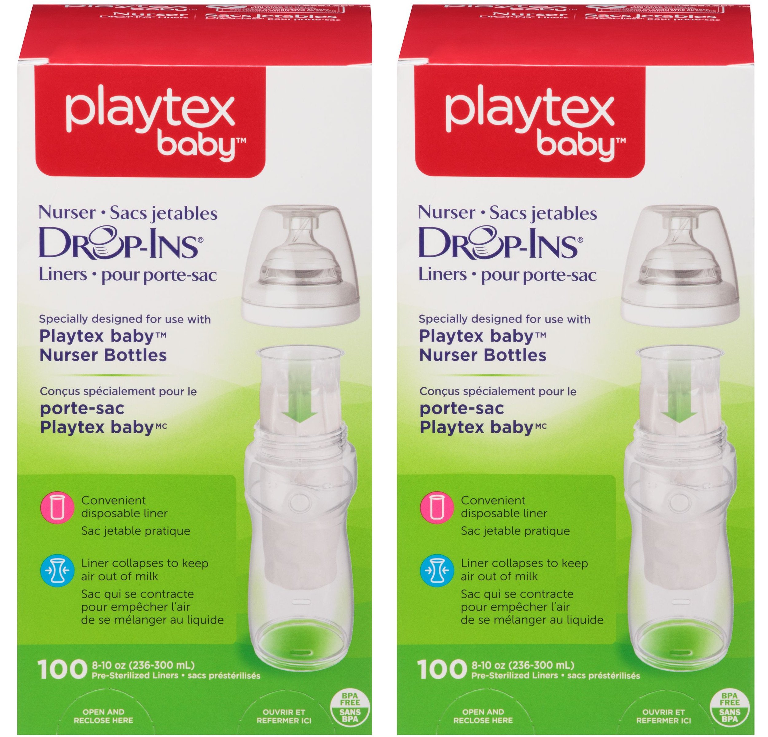 Playtex Baby Nurser Drop-Ins Baby Bottle Disposable Liners, Closer to Breastfeeding, 8 Ounce