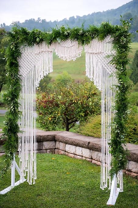 Nueva macramé de macramé de telón de fondo para la boda decoración de la pared estilo Boho Chic bohemio 75 W