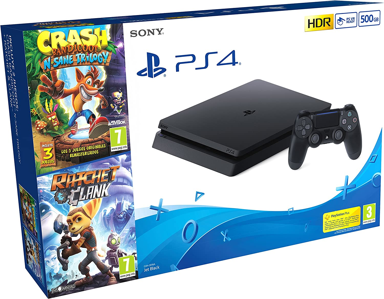 PlayStation 4 (PS4) - Consola de 500 GB + Crash Trilogy + Ratchet ...