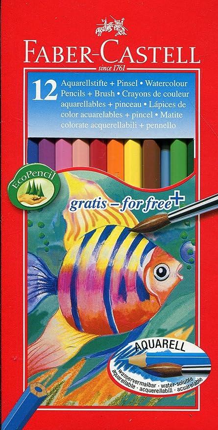 Faber-Castell 114413 - Estuche de cartón con 12 ecolápices acuarelables de colores y pincel: Amazon.es: Oficina y papelería