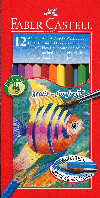 /étuis de 12 Faber-Castell 114413 Crayons de couleur aquarellables pinceau inclus