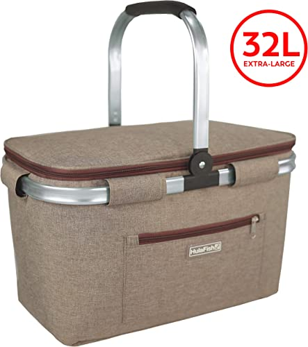 HulaFish Foldable Insulated Picnic Basket with lid 32L Extra Large Insulated Bag Easy Storage Compact Design Wine Picnic Basket for 2 Little red Riding Hood Basket Small Picnic Basket