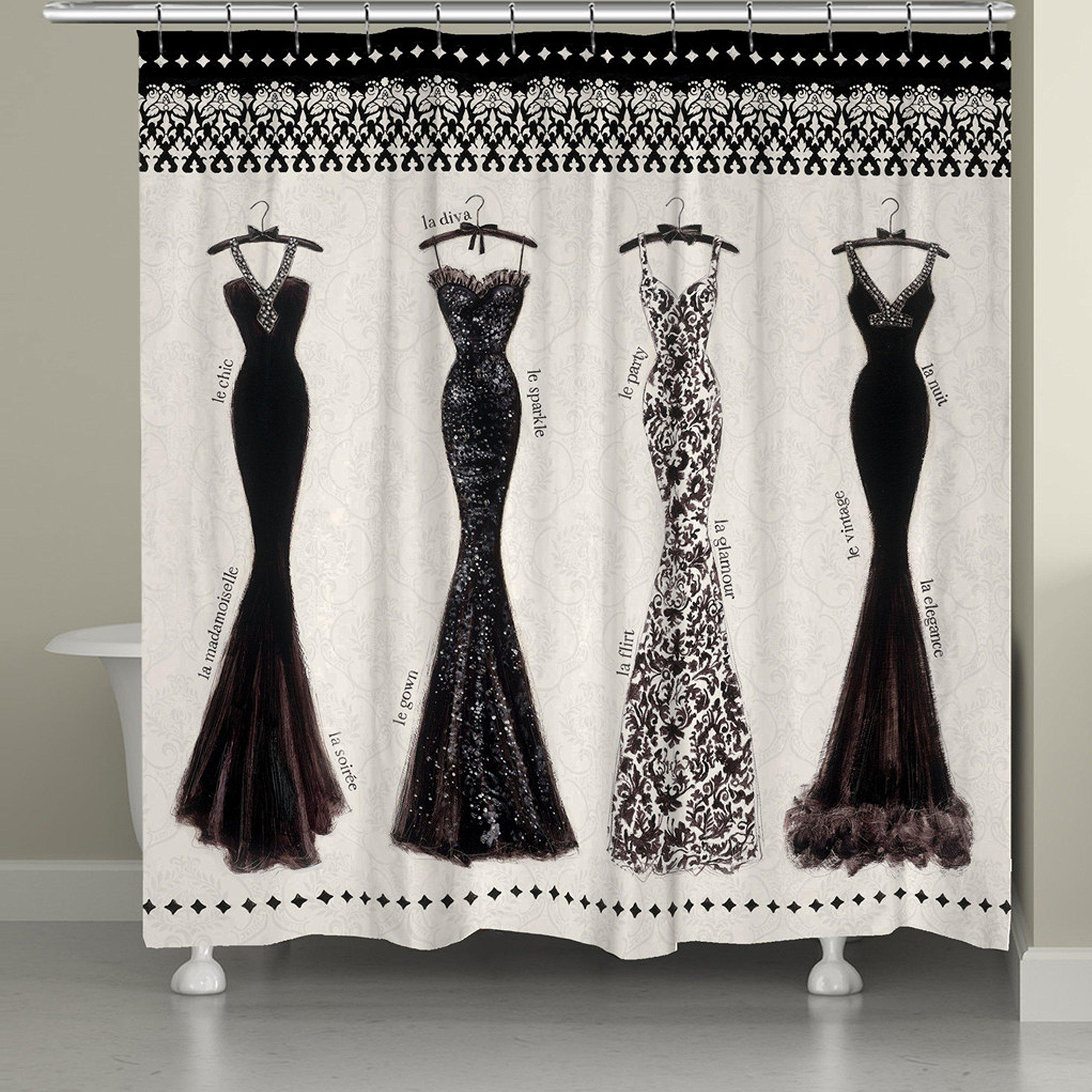 Laural Home Couture Noir Shower Curtain, 71'' x 74'', Black/White