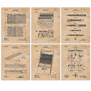 Vintage Accountant Patent Poster Prints, Set of 6 (8x10) Unframed Photos, Wall Art Decor Accounting Gifts Under 20 for Home, Office, Garage, Man Cave, College Student, Teacher, School & Math Fan