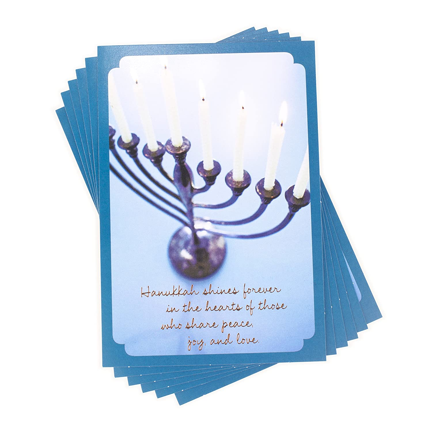 Amazon Hallmark Tree Of Life Pack Of Hanukkah Cards Blue