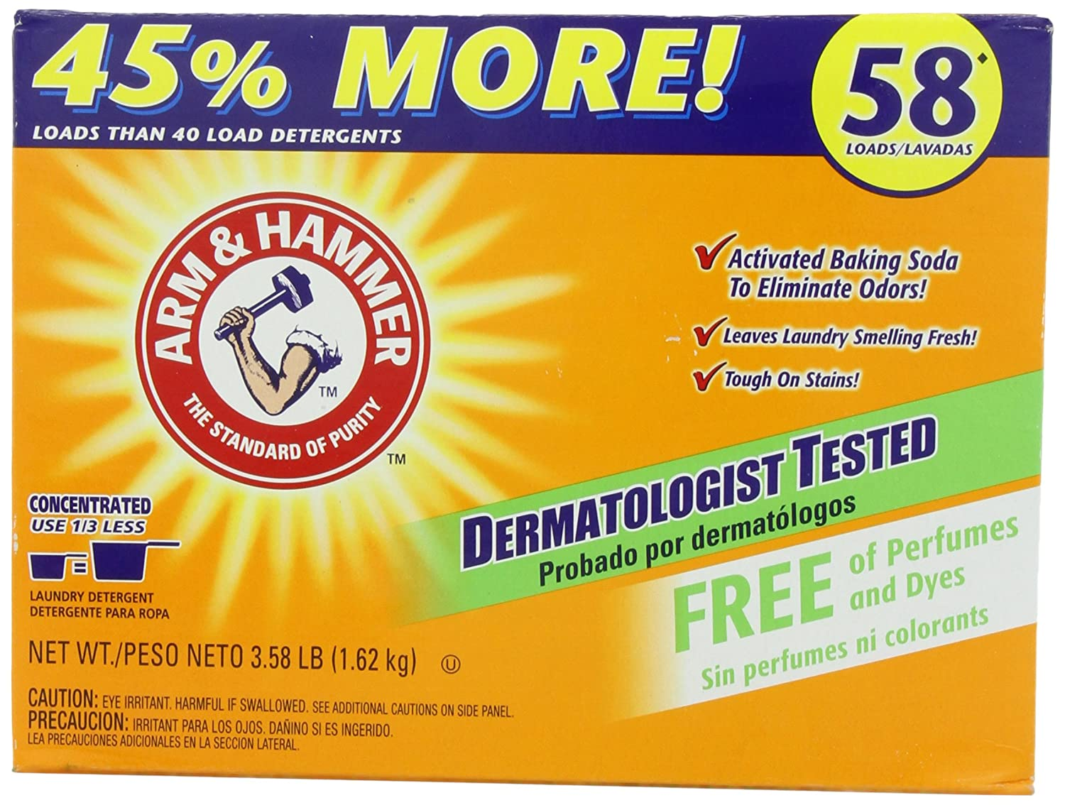 Is arm and hammer powder laundry detergent he - Amazon Com Arm Hammer Powder Laundry Detergent 58 Loads Free Of Perfumes And Dyes 3 58 Pounds Health Personal Care