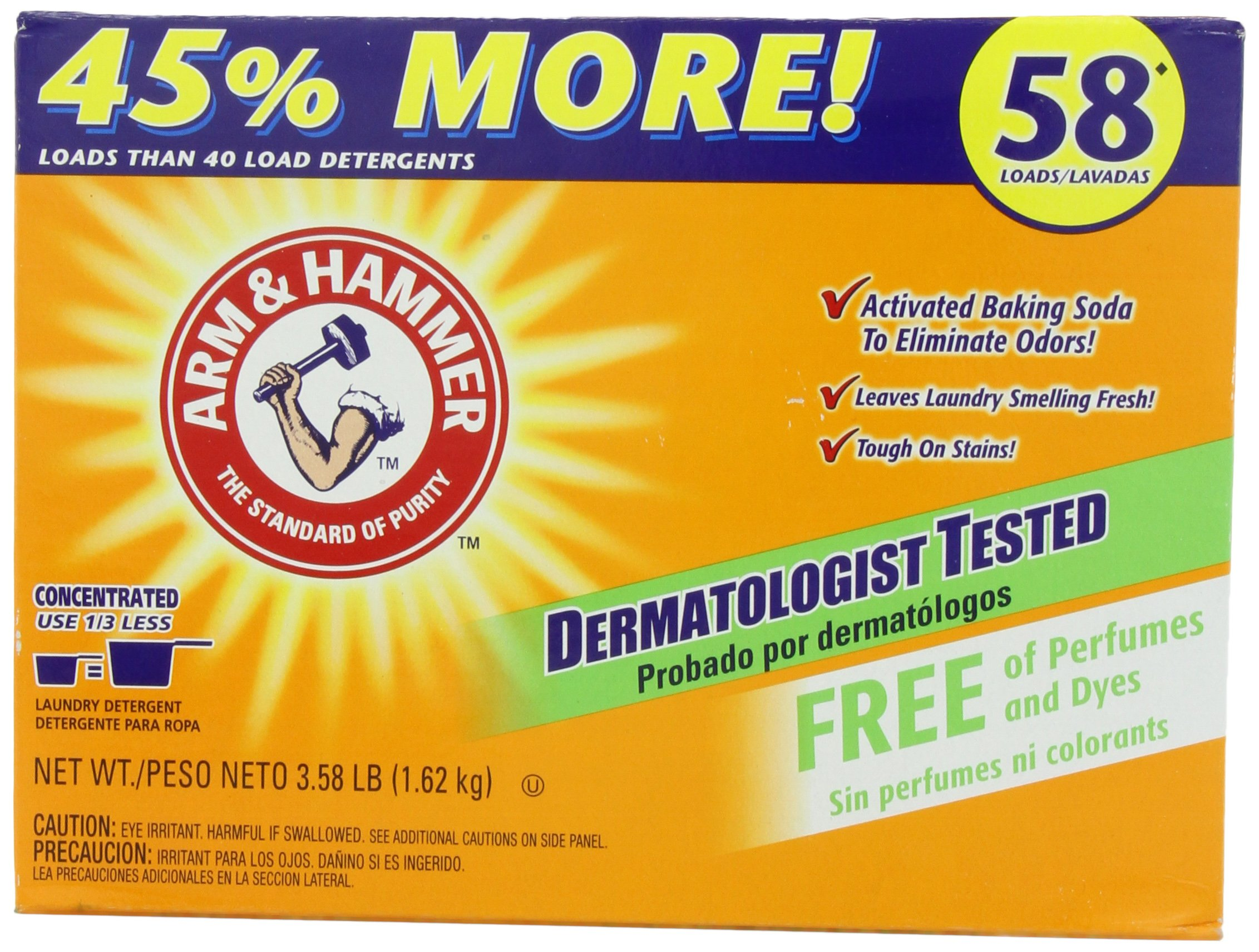 Arm & Hammer Powder Laundry Detergent, 58 Loads, Free of Perfumes and Dyes, 3.58 Pounds by Arm & Hammer