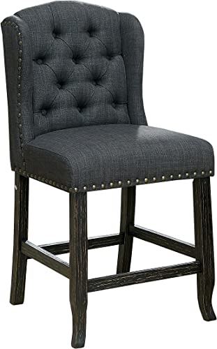 HOMES  Inside Out Noemi Transitional Counter-Height Wingback Chair Gray