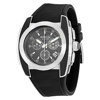 Breil BW0378 - Reloj cronógrafo de caballero de cuarzo con correa de goma negra (cronómetro) - sumergible a 100 metros: BREIL: Amazon.es: Relojes