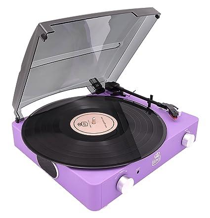 GPO Stylo II Retro 3 velocidades portátil, tocadiscos independiente tocadiscos con altavoces estéreo incorporados - Lila