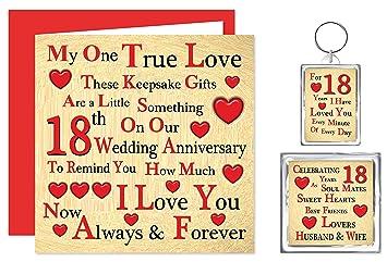 Unsere 18 Hochzeitstag Geschenk Set Karte Schlüsselring