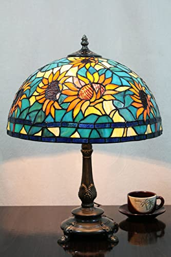 12-Inch Vintage Pastoral Sunflower Stained Glass Tiffany Table Lamp Bedroom Lamp Bedside Lamp
