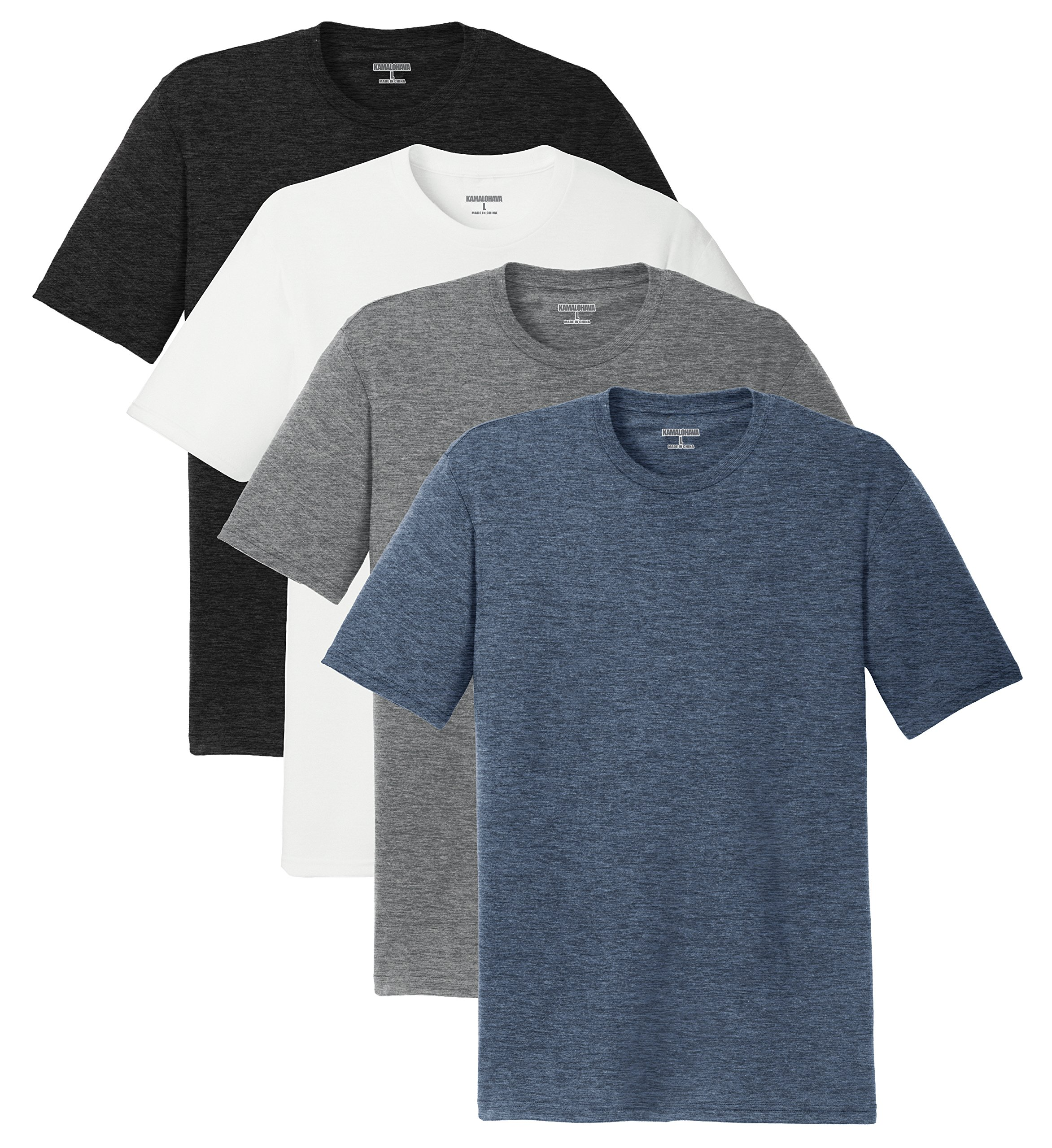 KAMAL OHAVA Men's Tri Blend Short Sleeve Tee (Pack of 4), 4XL, BK/WH/GY/Navy