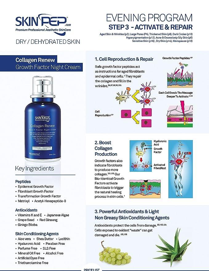 skinpep factor de crecimiento de renovar - crema de noche de colágeno - Super Hidratante moisturisers + Retinol + Ácido Hialurónico + Vitamina C + péptidos ...
