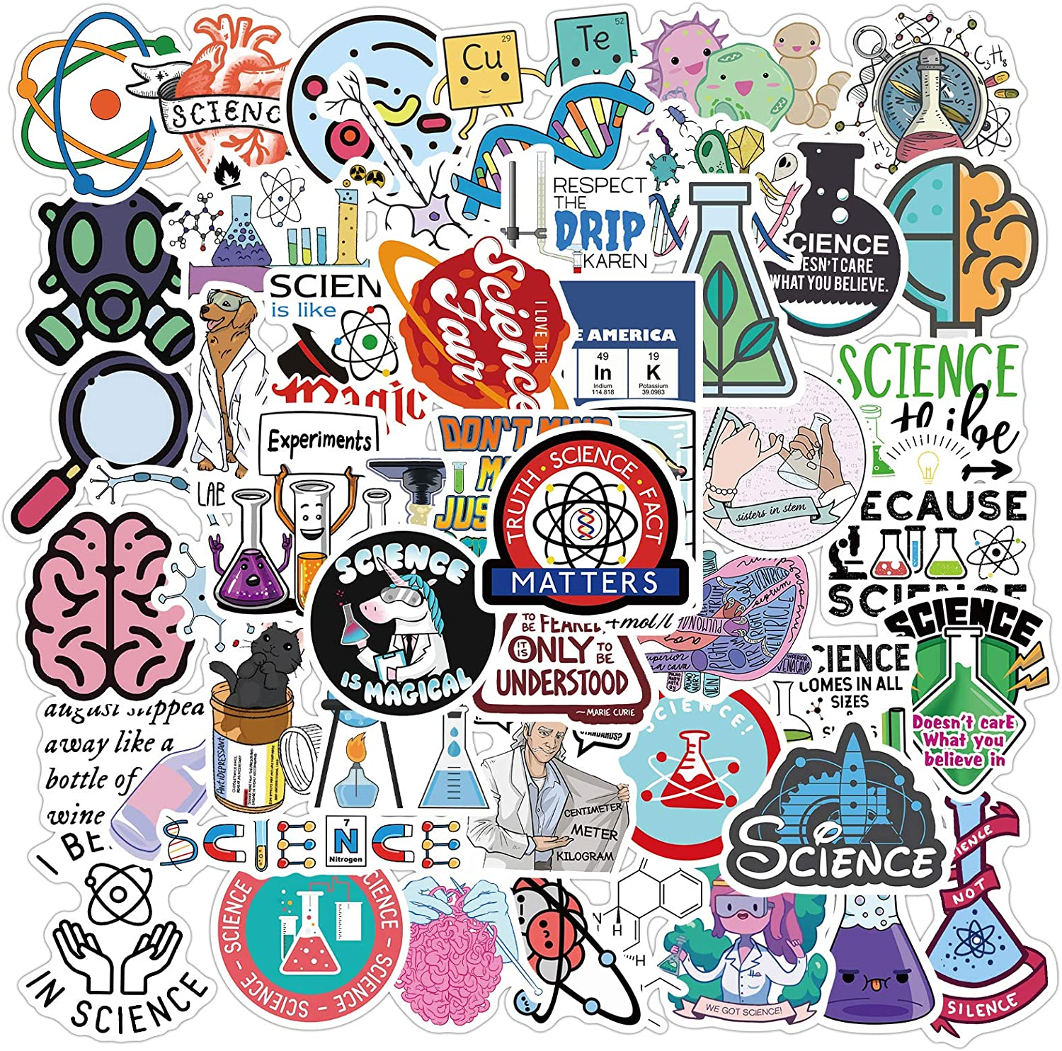 Science Stickers 50 Pack Decals for Laptop Skateboard Water Bottles Car Biology Physics Chemistry Lab Student Science Laboratory Sticker