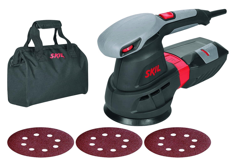 Skil 7455AA - Lijadora excé ntrica orbital para discos de 125 mm con variador de velocidad (430 W, bolsa para el polvo, conexió n para aspirador, juego de 3 accesorios) conexión para aspirador Bosch F0157455AA