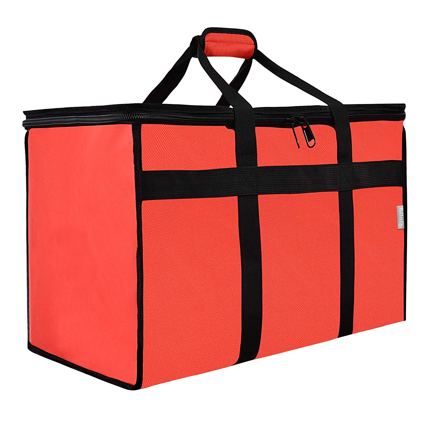 Butterfly Department Insulated Food Delivery Bag - 23x14x15 inches - Waterproof Interior - Ideal For Commercial Catering, Uber Eats, DoorDash, Grubhub, Postmates - Reusable Grocery Bag - Professional and Heavy-Duty - XXL - Red