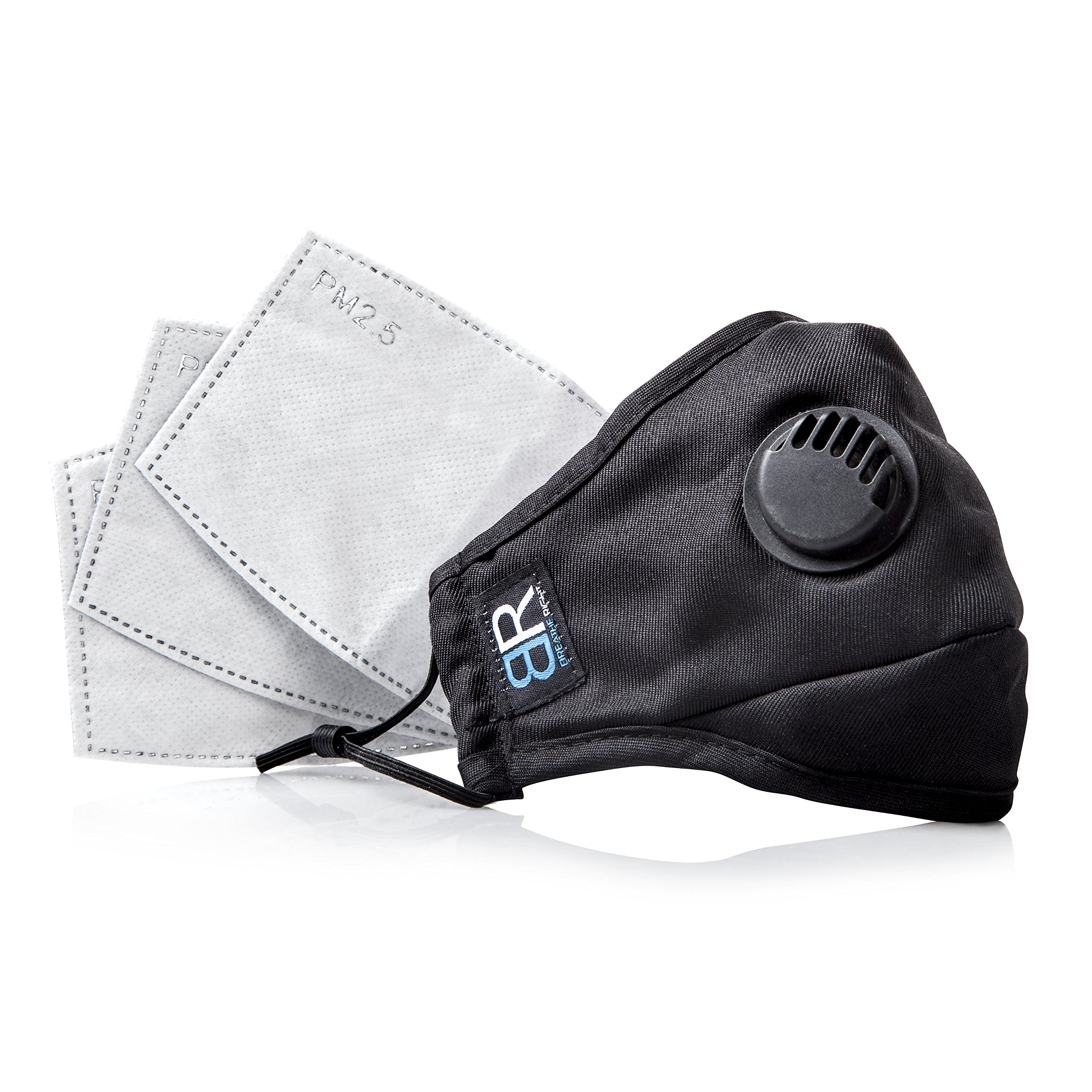 Dust Respirator N95 Breathing Pollution Mask For Men & Women Allergy Air Filter - Breathe Right Air Pollution Travel Mask Washable with 3 Activated Carbon Replacement Filters