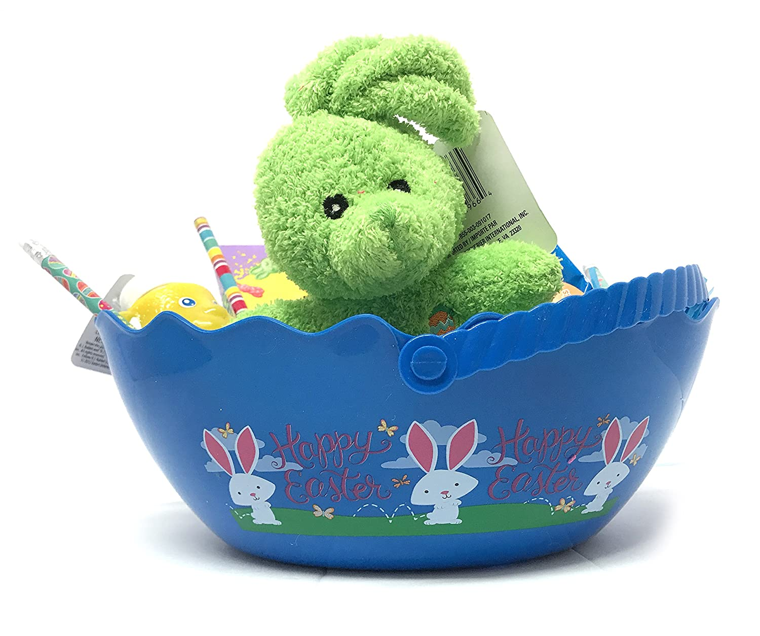 Spring Time Blue Easter Gift Basket - Filled with Green Bunny Plush, candy, toy, pencils, bubbles - Blue Pail: Amazon.com: Grocery & Gourmet Food