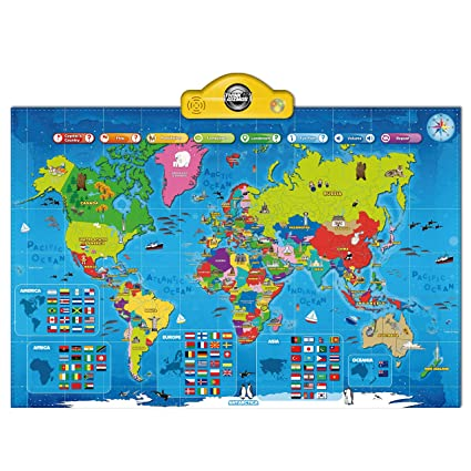 Interactive Talking World Map for Kids TG661 - Push, Learn and Discover on map quizes, map with details, map rules, map norms, map answers, map tricks, map language, map features, map processes, map tales,
