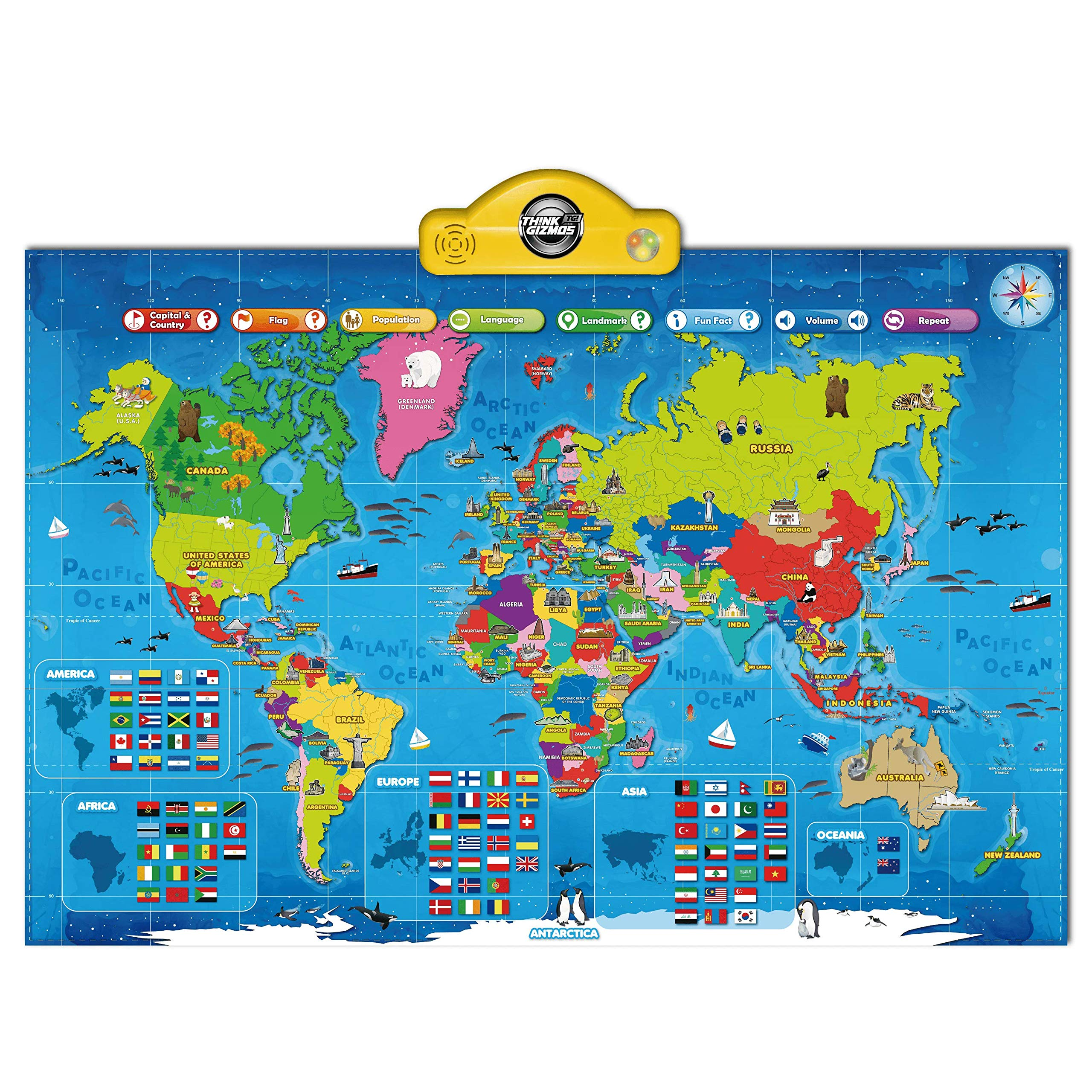 Interactive Talking World Map for Kids TG661 - Push, Learn and Discover Over 1000 Facts About Our World - Ideal Interactive Learning Toy Gift for Boys & Girls Aged 5,6,7,8,9,10 - by ThinkGizmos