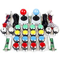 ORARE 2 Player Classic Arcade Contest DIY Kits USB Encoder To PC Joystick + 8 Ways Sticker + Chrome Plating LED Illuminated Push Button 1 & 2 Player Coin Buttons For Arcade Mame Raspberry Pi Games