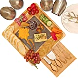 Premium Bamboo Cheese Board and Cutlery Set with Slate Centerpiece, Wood Charcuterie Platter, Serving Meat Board with Slide-Out Drawer with 4 Stainless Steel Knife and Server Set