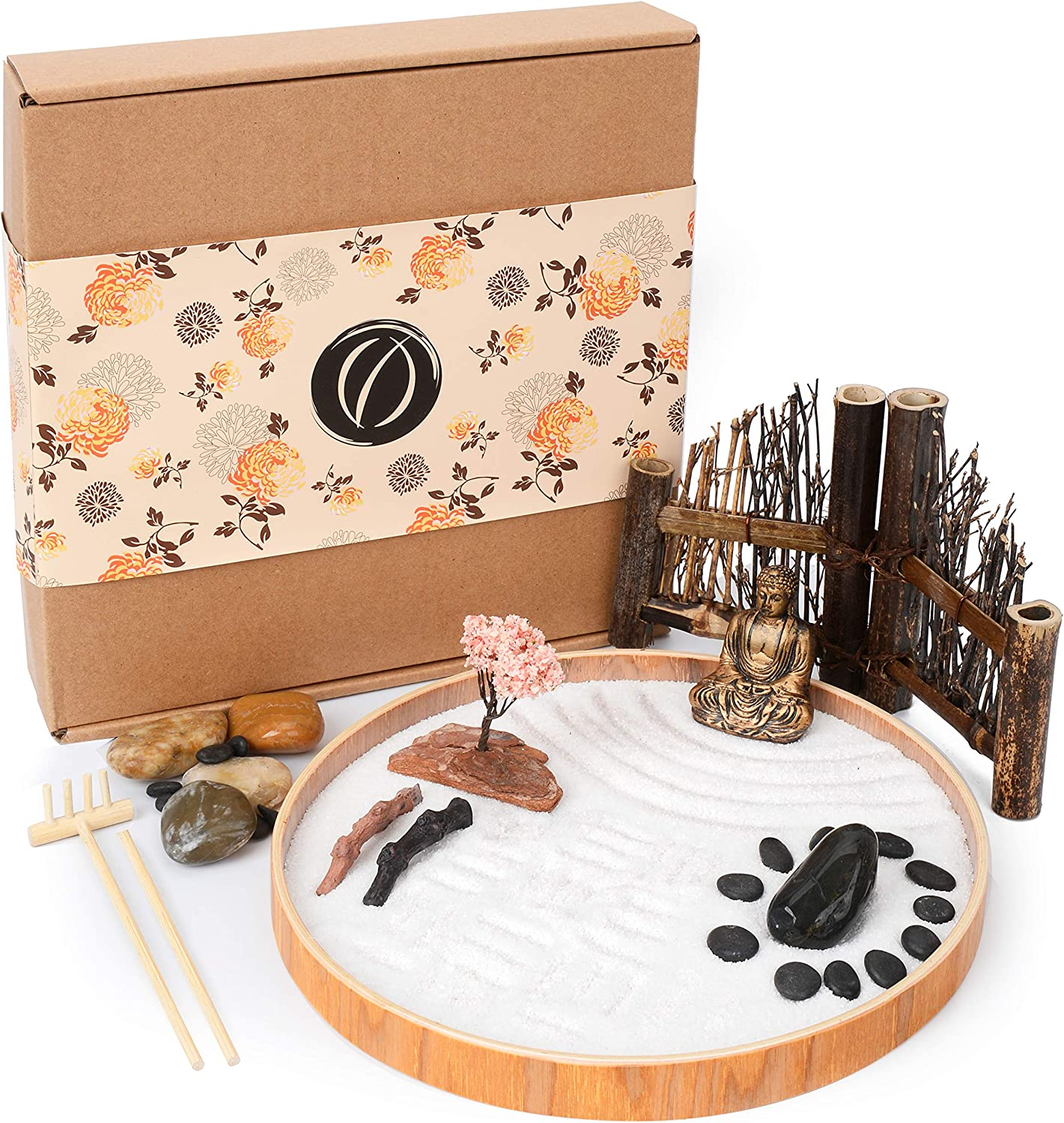 LotsOfZen Mini Zen Garden for Desk (9.5 Inch) — Desktop Zen Garden Kit with Round Sandbox, Miniature Buddha Statue, Wooden Fence, White Sand, Rake, and More Accessories — Great Spiritual Gift Idea